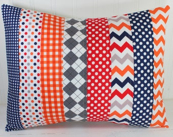 Pillow Cover, Baby Boy Nursery Decor, Patchwork Pillow Cover, Nautical Nursery Decor, 12 x 16 Inches, Navy Blue, Red, Orange, Gray, Chevron