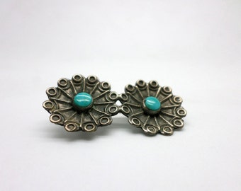 Vintage Silver and Turquoise Pin