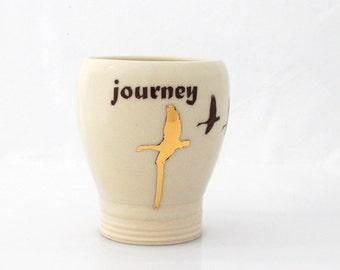 ceramic  tumbler with gold goose handmade ceramic cup