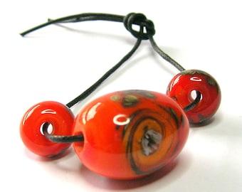 Orange Swirl Lampwork Glass Bead Set - Handmade Lampwork Beads