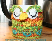 spring time owl cup cozy  with buttons