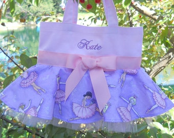 Pink MINI tote bag, Embroidered Tote Bag, dance bag, ballet bag,  Wedding tote bag, Flowergirls tote bag, dance bags, tutu bag MSTB598  EST