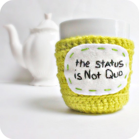 Coffee Mug Cozy Tea Cup Status Not Quo chartreuse lime yellow green crochet cover