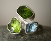 Trio Birthstone Ring - Choose Your Rough stones - Unique Mother and Children's Ring - Sterling Silver - Made for You and Your other parts