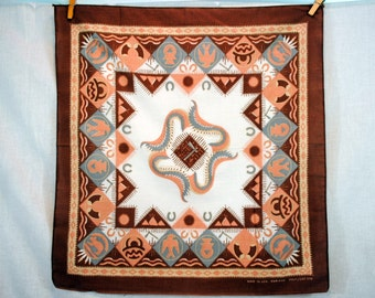 Vintage Southwest Geometric Tribal Native American Bandana Kerchief