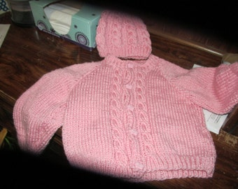 CUSTOM KNIT 5 Piece Baby Girl/boy Sweater set. Size 0-3months,3-6 most, 6-12 mos.