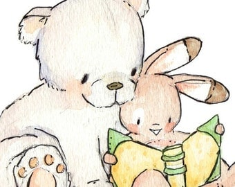 Read With Me. PRINT 8X10. Children Art Nursery Decor