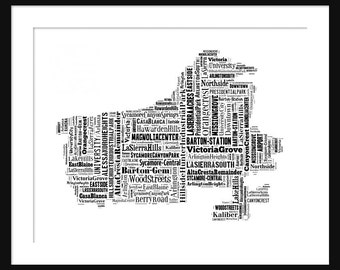 Riverside California Typography Map Poster Print