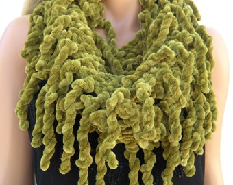 Moss green Hand knitted  velvet  fringe scarf  Infinity scarf  Loop scarf Luxurious Fransen Scarf