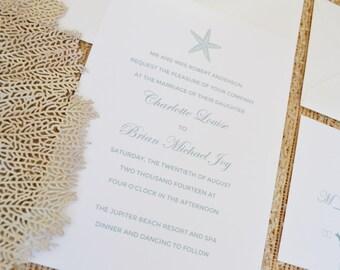 Starfish Wedding Invitation Card Suite