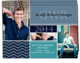 Digital File Print it Yourself/Photo Graduation Invitation Announcement/you can change the colors/Grady design