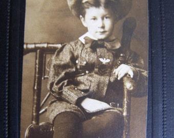 Vintage Sweet Little Boy Sepia Photograph