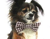 Dog Bowtie Clip ON Bowtie-Brown and White Houndstooth