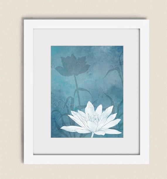 Wall Art Lotus Flower : Lotus flower wall art print baby blue home decor
