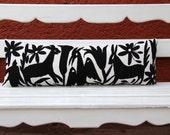 Black Lumbar Hand Embroidered Otomi Cushion Sham