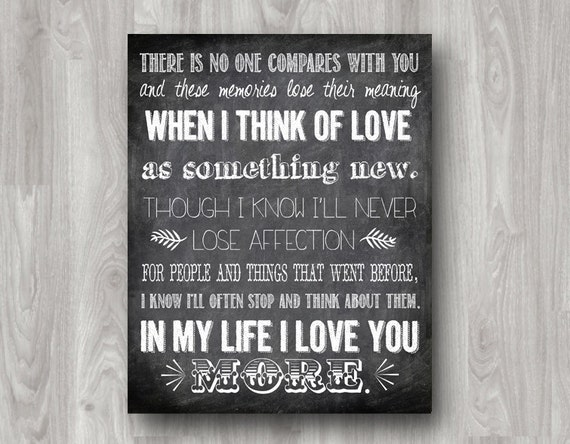 In My Life Lyrics Quote by The Beatles Typography Printable