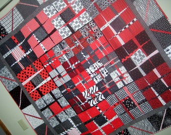 Red, White and Black Wonky Nine-Patch Quilt