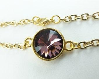 Crystal Modern Mauve Bracelet Yellow Gold Chain Bracelet