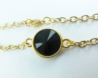 Gold and Black Classic Bracelet Yellow Gold Chain Bracelet