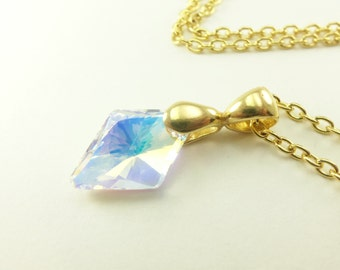 Gold Diamond Necklace Yellow Gold Crystal Necklace Clear Diamond Necklace