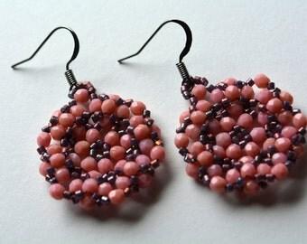 Warm Peach Beadwork Earrings Iris Purple Seed Bead Woven Earrings Beaded