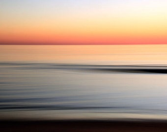 Beach Sunset, Orange and Blue, Sky and Water, Ocean, Abstract Seascape, 8X10 Mat, Modern Wall Art, Ready to Frame, Wall Hanging