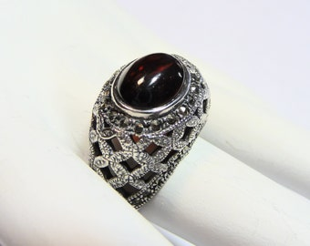 Sterling Silver Garnet Cabachon and Marcasite Dome Ring Size 7 1/2 on Etsy