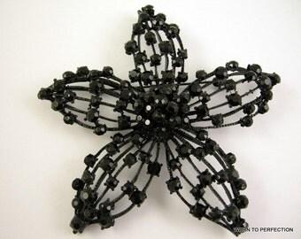 Huge 1950s Black Rhinestone Flower Brooch