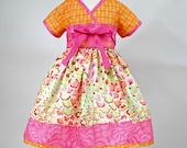 Girl's Kimono Dress, Girls Clothing, Kimonos, Toddler, Easter Dress, Toddler dress, Girl Dresses, pink dress, size 2T 3T 4T 5 6 7 8