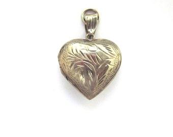 Vintage Sterling Silver Puffy Heart Locket