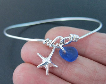 Sea Glass Bracelet, Sea Glass Bangle, Genuine Sea Glass Jewelry, Sterling Silver Charm Bracelet, Seaglass Bracelet, Seaglass Jewelry