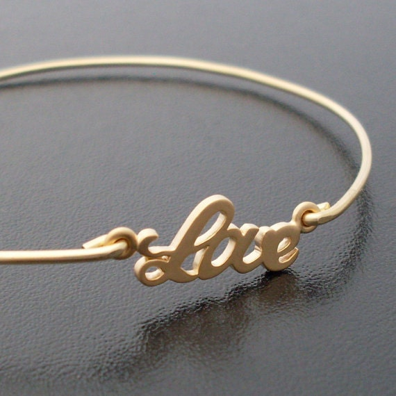 Personalized The Ones I Love Bracelet - Gold Gold Love Bracelet Bangle