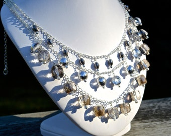 Silver gray crystal three strand statement necklace, crystal necklace, multistrand necklace