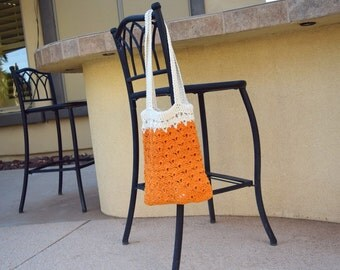 Cotton crochet tote beach tote off white orange bag farmers market natural boho tote avoska reusable bag gift for her gift for friend