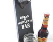 Wedding Gift Personalized Wall Mount Bottle Opener with Mason Jar Cap Catcher--painted solid wood
