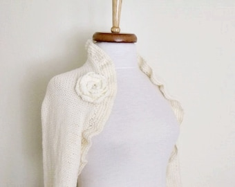Ivory CASHMERE cotton long sleeves shrug With Flower Brooches