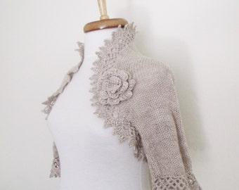Milk Brown Cashmere Bridal Shrug With Flower Brooch
