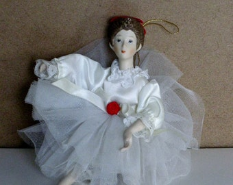 Vintage Ballerina Doll Ornament Christmas Tree Decoration Lace Satin Lace Red Ribbon Miniature