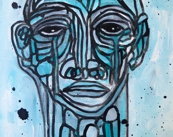 Original Expressionist Art Painting Fine art mixed media abstract  Portrait