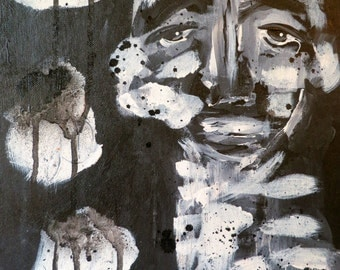 Black and white original abstract painting face portrait