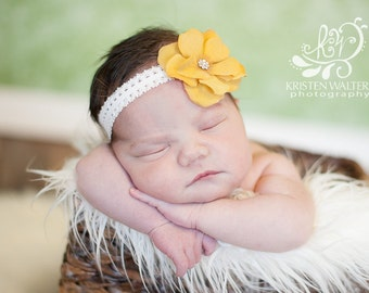 Store Closing Sale!!! Yellow velvet blossom with crystal center