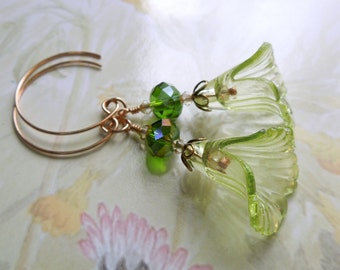 Frilled Lime green bronze earrings - green lucite crystal and bronze earrings