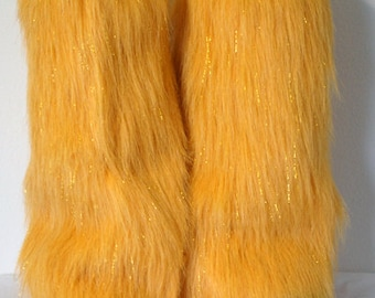 Yellow Sparkle Leg Warmers / Fluffies / Boot Covers - Cosplay / Furry / Animal / Rave