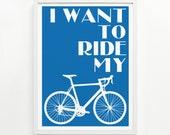 Bike Print – Hand Printed, 9 x 12 - Pick Your Color