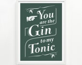 Gin and Tonic Screen Print, 9 x 12 Hand Printed - Pick Your Color