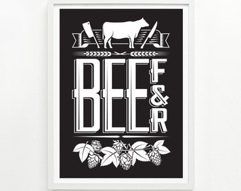 Foodie Gifts, Kitchen Decor, Mens Gift, Foodie Gift for Her, Posters of Food - Beef & Beer Screenprint Poster: