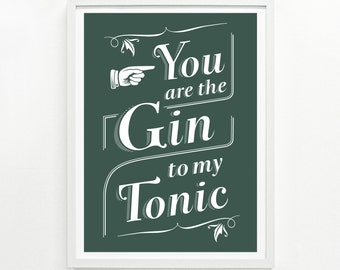 Gin Cocktail, Bar Sign, Funny Kitchen Signs, Alcohol Signs, Gift for Her, Funny Sign - Gin & Tonic Poster 9 x 12: