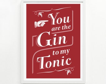 Gin and Tonic Screen Print, 12 x 16 Hand Printed - Pick Your Color
