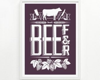 Foodie Gift, Foodie Gift for Her, Food Gift for Him, Chef Gift, Food Poster Kitchen Decor - Beef & Beer Screenprint Poster 12 x 16:
