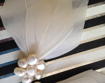 Two Ivory Feather & Freshwater Pearl clips - Great for a bride or bridesmaid, can be made in other colours